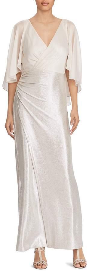 Ralph Lauren Santiaza Chiffon Draped Surplice Metallic Sequin Gown