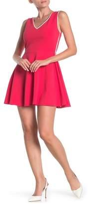 Love...Ady Contrast Trim V-Neck Skater Dress