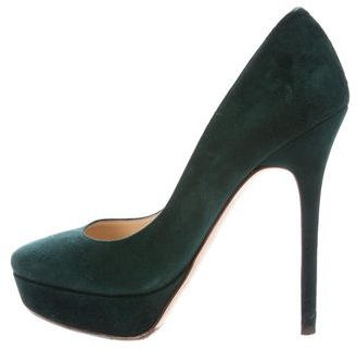 Jimmy Choo Jimmy Choo Suede Round-Toe Platforms