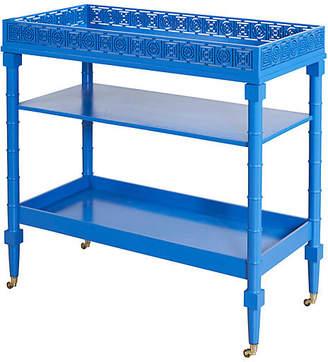 Selamat Mayfair Bamboo-Style Bar Cart - Blue