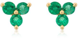 Ef Collection Emerald Trio 14kt Gold Stud Earrings