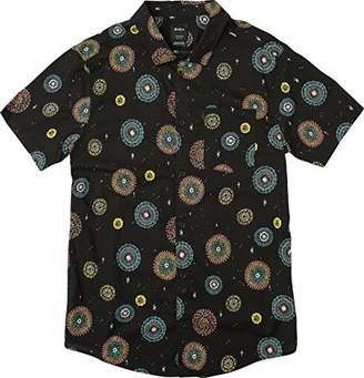RVCA Men's Fireworks Short Sleeve Woven Button Down Shirt