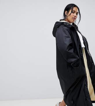 Asos DESIGN Curve maxi fleece lined rainwear