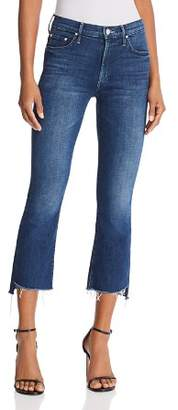 Mother Insider Step-Hem Cropped Flared Jeans in The Royal Treatment
