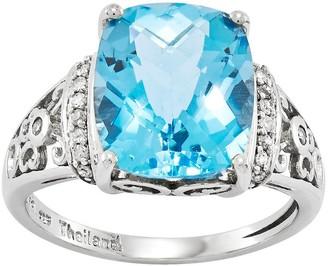 Sterling Choice of Rectangular Cushion-Cut Gemstone Ring