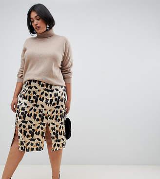 Influence Plus satin leopard print midi skirt with slits