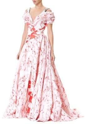 Carolina Herrera Floral Embellished Straps Gown