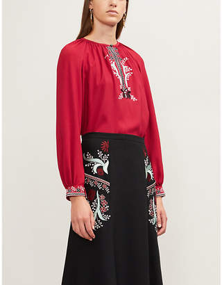 Vilshenko Ladies Wine Red Embroidered-Trim Woven Top