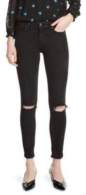 Maje Priska Embroidered Distressed Skinny Jeans