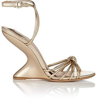 Salvatore Ferragamo Women's Sculpted-Heel Leather Ankle-Strap Sandals