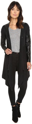 Blank NYC Hooded Vegan Leather and Wool Sweater in Party Monster $88 thestylecure.com