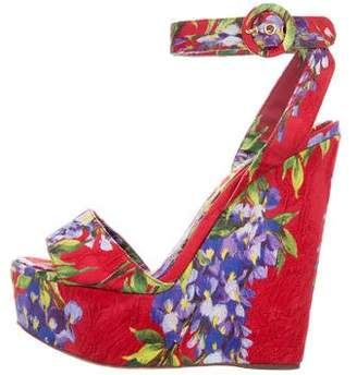Dolce & Gabbana Printed Platform Wedge Sandals