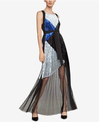 BCBGMAXAZRIA Velvet Colorblocked Pleated Gown