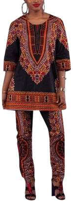 ainr Women Casual African Printed Two Pieces Pants Suits Outfit Ethnic Clothing XS