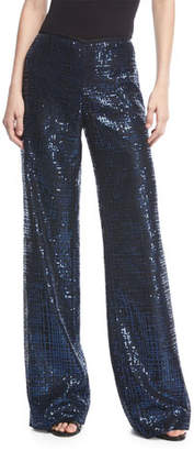 Emporio Armani Wide-Leg Metallic Tweed Pants