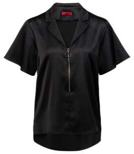 HUGO Boss Relaxed-fit top in hammered satin crepe statement zipper 2 Black