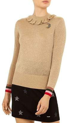 Ted Baker Colour By Numbers Hawen Metallic Knit Frill Neck Top