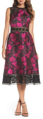 Women's Tadashi Shoji Lace Trim Rose Jacquard Midi Dress $488 thestylecure.com
