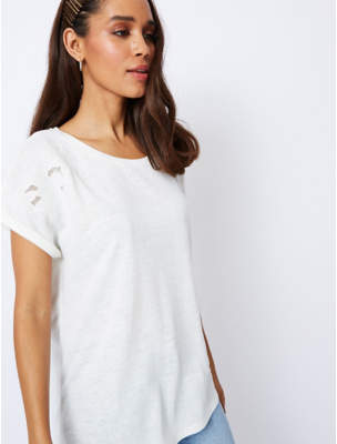 George White Linen Look Embroidered Cap Sleeve Top
