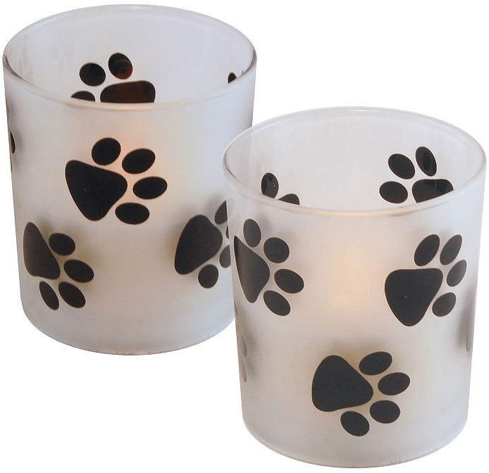 Glass LED Candles- Paw Prints (Set of 2)
