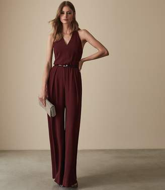 Reiss KADIE BEADED STRAPPY JUMPSUIT Berry