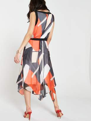 Wallis Geo Print Colour Block Hanky Hem Dress - Multi