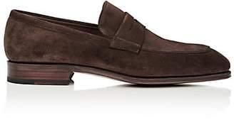 7b0b686aa833 Carmina Shoemaker Men s Suede Penny Loafers - Dk. brown