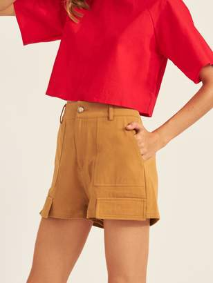 Shein Solid Flap Straight Leg Shorts