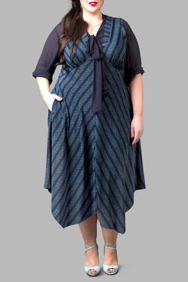 Love By Yona Empire Waist Dress-Blue