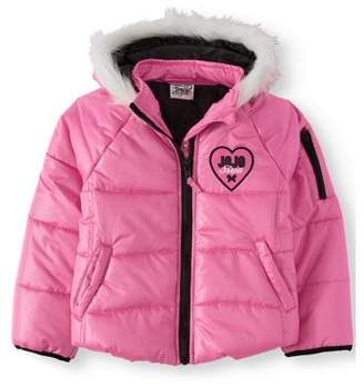 Jo-Jo Jojo Siwa Little Girls' Puffer Coat With Fur Trim Hood