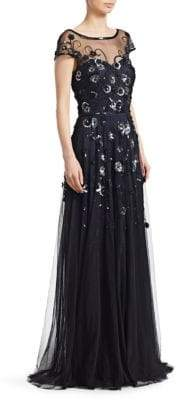Theia Sequined llusion Gown