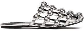 Alexander Wang Amelia Studded Metallic Leather Slippers
