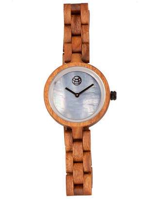 Earth Wood Wisteria Mother-Of-Pearl Wood Bracelet Watch Olive 32Mm