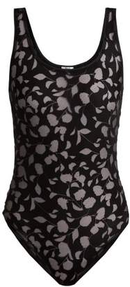 Wolford Amelia Devore Bodysuit - Womens - Black