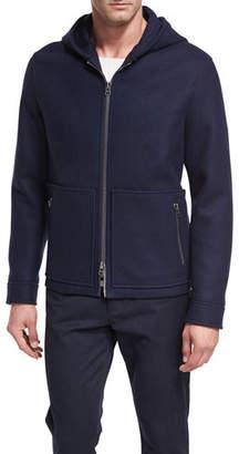 Vince Full-Zip Virgin Wool Hooded Jacket