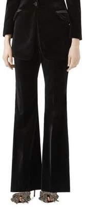 Gucci Flared Velvet Pants, Black