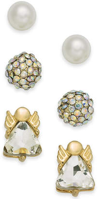 Charter Club Holiday Lane Gold-Tone 3-Pc. Set Angel Crystal Ball & Imitation Pearl Stud Earrings