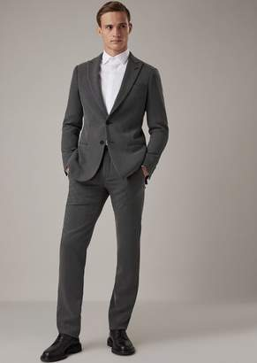 Giorgio Armani Soho Line Slim-Fit Half-Canvassed Suit In Technical Crepe Cavalry Twill