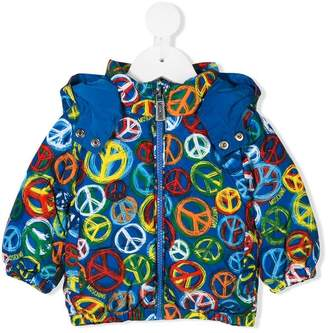 Moschino Kids peace sign padded coat
