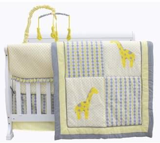 Pam Grace Creations Argyle Giraffe Safari Jungle / 10-Piece Crib Bedding Set / Yellow and Gray