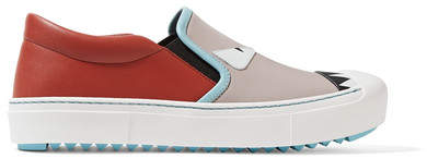 Fendi - Leather Slip-on Sneakers - Taupe
