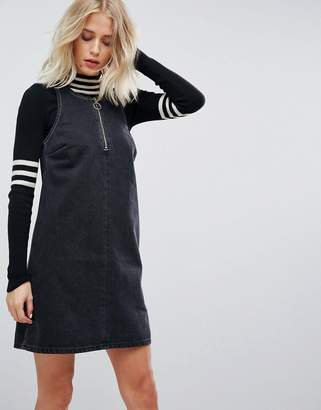 Asos Denim Shift Dress in Washed Black With Circular Ring Pull