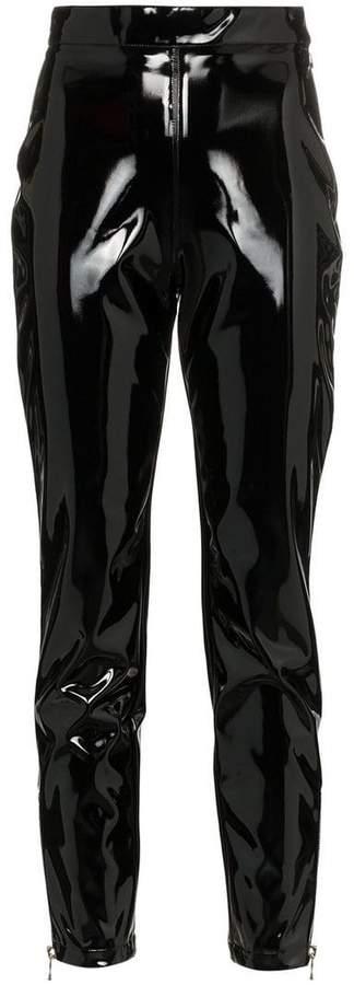 black high-waisted skinny vinyl trousers