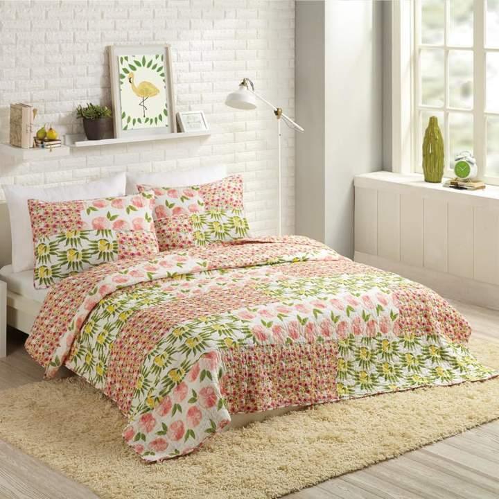 Peking Handicraft, Inc. Bouffants and Broken Hearts Citrus Flowers 3pc Quilt Set - Full/Queen