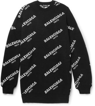 Balenciaga Oversized Intarsia Wool-Blend Sweater $995 thestylecure.com