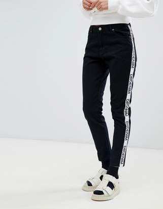 Dr. Denim Pepper high rise jean with logo tape