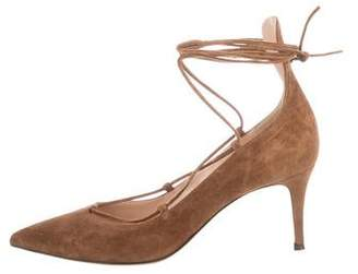 Gianvito Rossi Suede Lace-Up Pumps