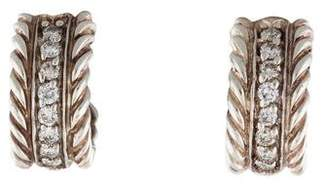 David Yurman Diamond Cable Classics Huggie Earrings