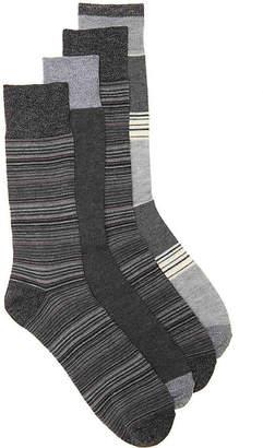 Lucky Brand Color Block Stripe Crew Socks - 4 Pack - Men's