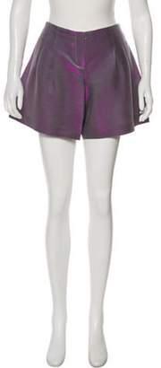 Emporio Armani Pleat-Accented Mini Shorts Purple Pleat-Accented Mini Shorts